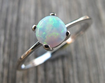 White Opal Ring- Opal Ring Silver Stackable- October Birthstone Ring- Sterling Silver Bohemian Ring- Simple Opal Boho Ring- Opal Jewelry