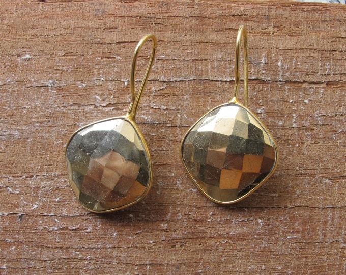 Rustic Raw Dangle Earring- Pyrite Drop Earring- Boho Gold Rustic Earring- Bohemian Drop Earring- Boho Geometric Earrings