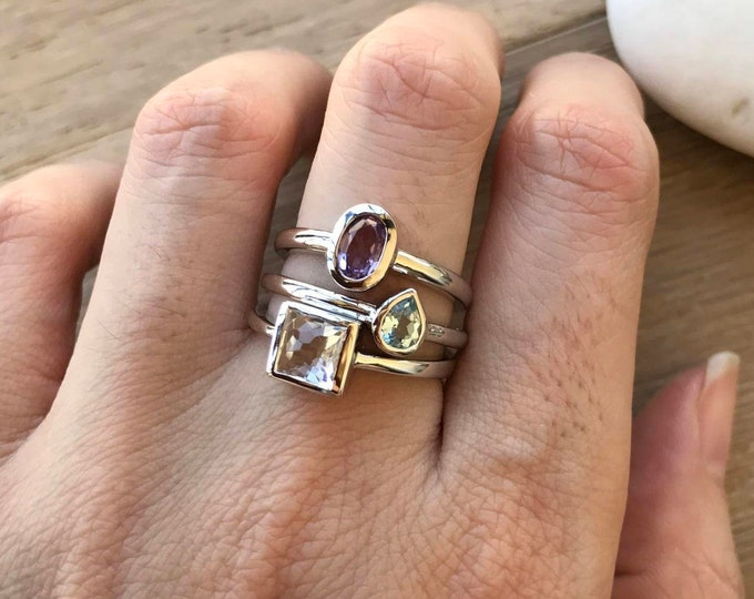 Gemstone Stackable Ring- Family Birthstone Ring- Mothers Family Birthstone Ring- February April March Birthstone Ring- Customize Ring Set