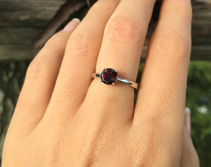 Genuine Garnet Round Small Ring- Stackable Dark Red Garnet Prong Ring- Janauary Birthstone Ring- Red Gemstone Ring- Garnet Silver Ring