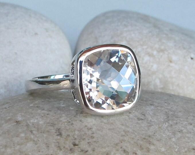 Genuine White Topaz Engagement Ring- Cushion White Promise Ring- April Birthstone Ring- Classic White Gemstone Ring- Simple Anniversary Ring