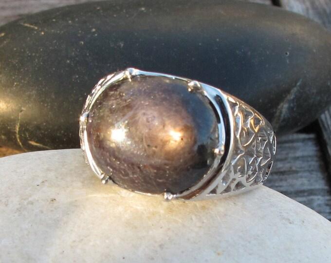 Raw Black Sapphire Star Men's Filigree Ring- Large Oval Statement Unisex Ring- Unisex Black Solitaire Ring- Rough Gemstone Engagement Ring
