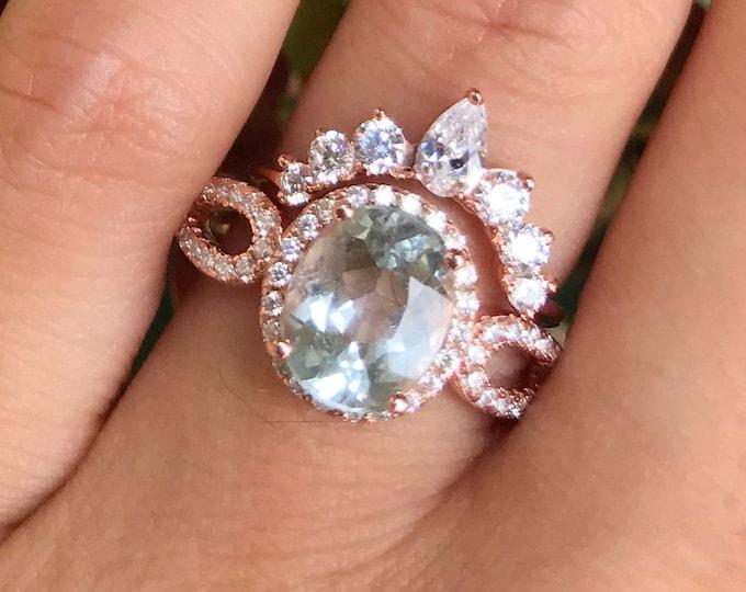 Rose Gold Halo Aquamarine Ring Set- Aquamarine Engagement Oval Bridal Ring Set- Blue Stone Promise Ring- Anniversary Solitaire Ring