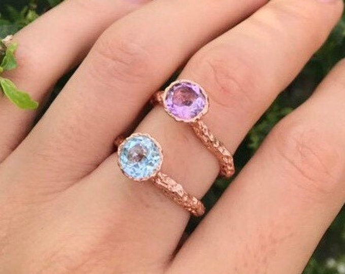 Rustic Round Birthstone Stackable Rose Gold Ring-Amethyst Hammered Blue Topaz Layering Ring-Personalized Stack Gold Ring- Birthstone Jewelry
