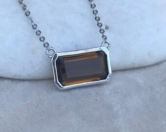 Rectangle Smoky Quartz Statement Necklace- Minimalist Simple Brown Necklace- Sleek Modern Brown Stone Necklace