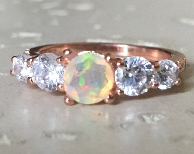 Rose Gold Welo Opal Anniversary Ring- Genuine Opal Engagement Ring- Fire Opal Promise Ring for Her- October Birthstone Ring- Five Stone Ring