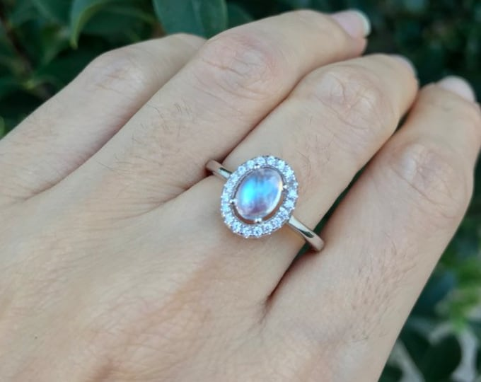 Moonstone Halo Engagement Ring- Rainbow Moonstone Oval Promise Ring- Cab Moonstone Solitaire Ring- June Birthstone Ring- Prong Ring