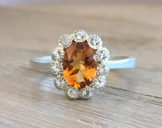 Natural Citrine Ring Oval Halo Engagement Promise Orange Gemstone Sterling Silver Ring