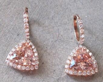 Morganite Earring, Rose Gold Morganite Earrings- Halo Earring- Diamond with Morganite Earrings- 14k Rose Gold Morganite Earrings