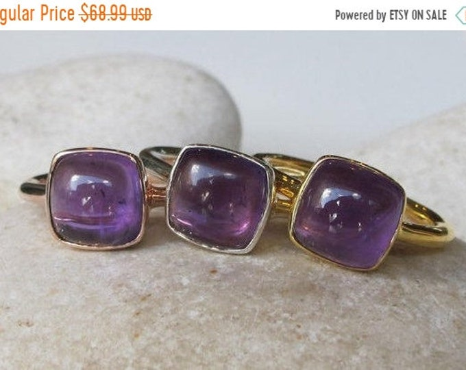 40% OFF SALE Amethyst Rose Gold Ring Natural Square Purple Amethyst Gold Ring Silver Simple Stack Minimal February Birthstone Genuine Amethy