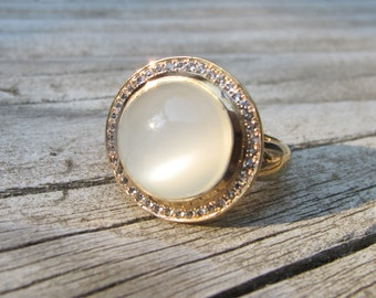 White Moonstone Engagement Ring- Round Moonstone Promise Ring- Woman Anniversary Gold Ring- Boho Halo Solitaire Ring- June Birthstone Ring