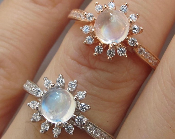 Floral Moonstone Halo Promise Ring for Her- Cabochon Round Moonstone Engagement Ring- Moonstone Prong Solitaire Ring- Rose Gold Silver Ring