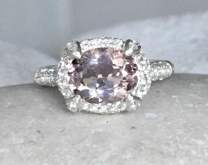 Oval Morganite Engagement Ring- East West Engagement Ring- Morganite Promise Ring for Her- Silver Pink Gemstone Ring- Halo Morganite Ring
