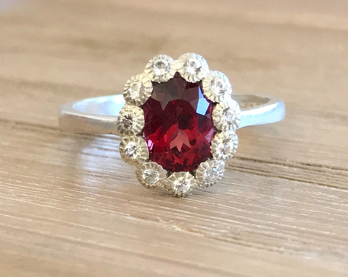 1.50ct Garnet Engagement Ring- Genuine Garnet Promise Deco Anniversary Ring- Halo Oval Red Ring- January Ring- Red Gemstone Engagement Ring