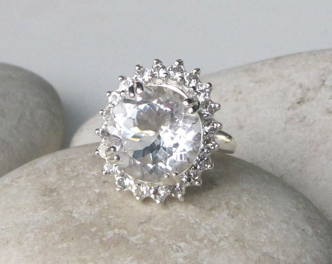 White Topaz Engagement Ring- Nontraditional Engagement Ring- White Gemstone Anniversary Ring- Alternative Solitaire Engagement Ring