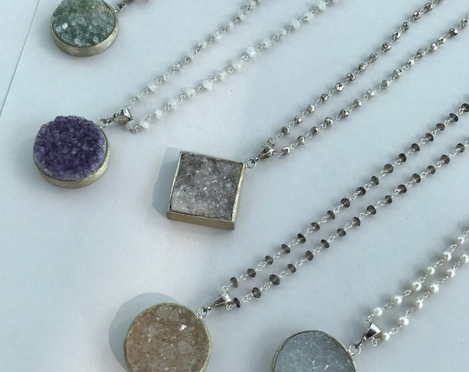 Raw Druzy Rosary Bead Statement Necklaces- Choose your Favorite Druzy Rock