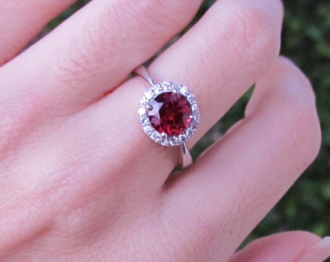 Garnet Halo Engagement Ring- Natural Garnet Promise Ring- January Birthstone Anniversary Ring- Red Gemstone Rose Gold Ring- Round Ring
