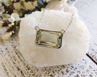Statement Green Amethyst Necklace- Rectangle Emerald Cut Bar Necklace- Sterling Silver Gemstone Necklace- Simple Green Stone Necklace