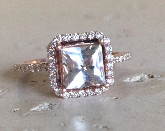 White Sapphire Engagement Ring- Princess Halo Engagement Ring- Square Sapphire Promise Ring- Colorless Engagement Ring- Anniverrsary Ring