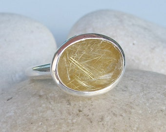 Rutilated Quartz Statement Ring- Oval Faceted Rutile Ring- Sterling Silver Quartz Ring- Solitaire Gold Quartz Ring- Unique Gemstone Ring