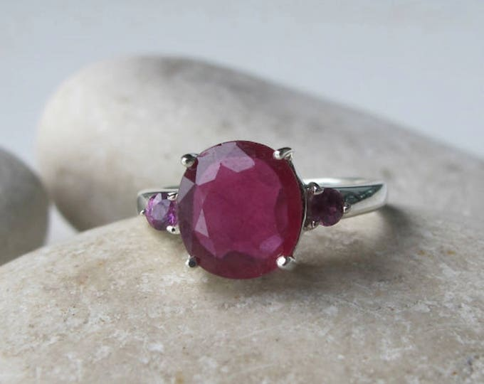 Classic Ruby Engagement Ring- Ruby Promise Ring- Three Stone Anniversary Ring- Genuine Ruby Ring- Red Alternative Engagement Ring