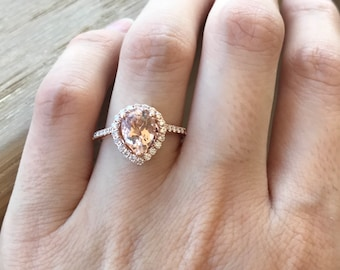 Morganite Rose Gold Ring- Morganite Pear Halo Engagement Ring- Large Morganite Diamond Solitaire Ring- Pink Alternative Engagement Ring
