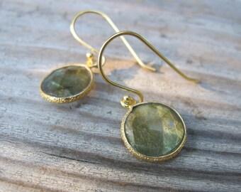 Round Labradorite Earrings- Silver Labradorite Earring- Stone Earring- Gemstone Earrings- Dangle Earrings- Bridesmaids Earring- Jewelry Gift