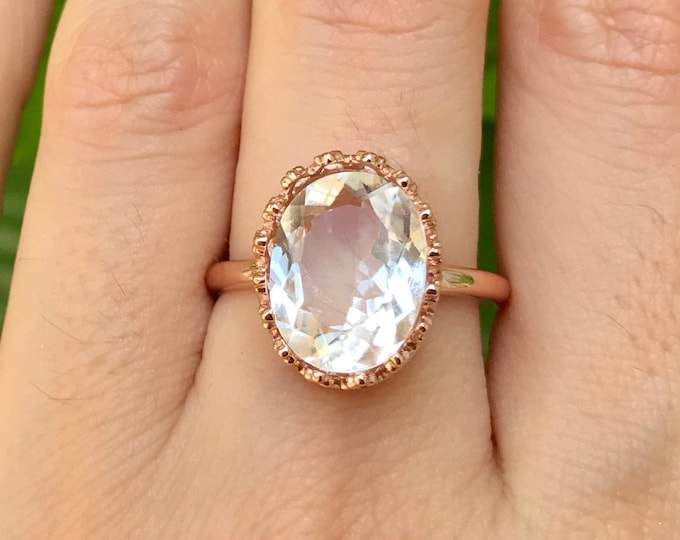 White Topaz Oval Engagement Ring- Rose Gold Promise Ring- Colorless Diamond Alternative Engagement Ring- Large Solitaire Clear Stone Ring