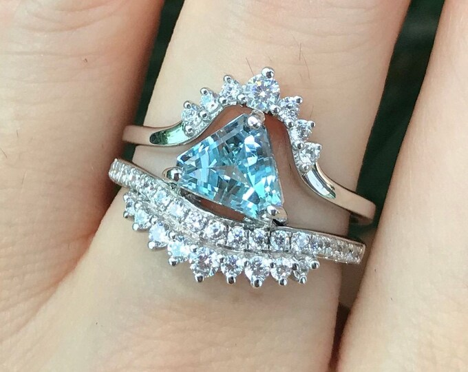 Aquamarine Trillion Bridal Ring Set- Triangle Aquamarine Unique Engagement Ring Set-Genuine Aquamarine 2 Piece Ring- Blue Stone Promise Ring