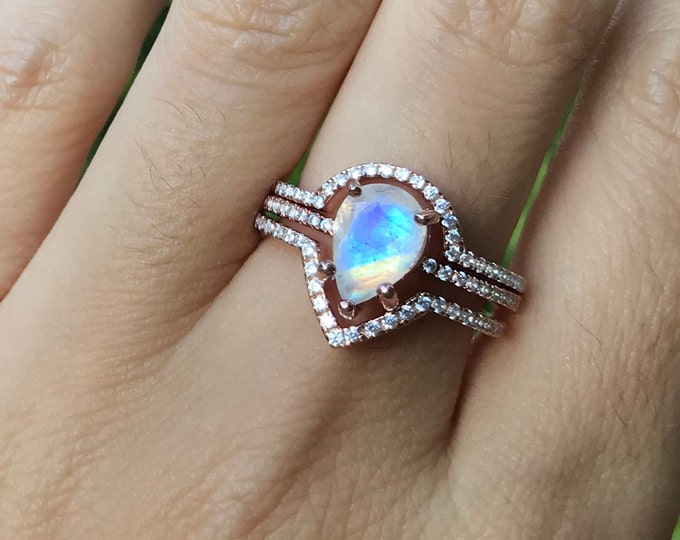 Teardrop Moonstone Engagement Ring Set- Halo Moonstone Bridal Ring Set- Pear Moonstone 3 Piece Ring Set- Bohemian Rainbow Ring