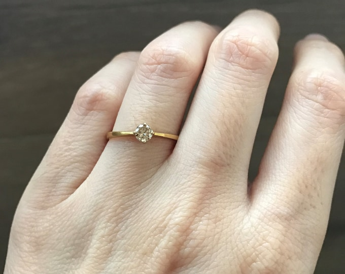 Simple Diamond Promise Ring- 4 Prong Diamond Engagement Ring- April Birthstone Ring- Wedding Bridal Diamond Ring- Champagne Diamond Ring