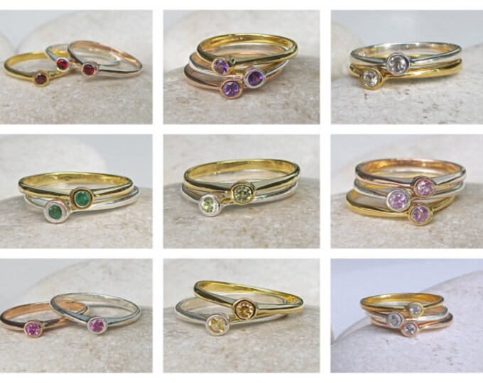 Stack Birthstone Ring- Blue Topaz Ring- Pink Topaz Ring- Pink Stone Ring- Gemstone Ring- Quartz Ring- Topaz Ring- Stone Stack Ring