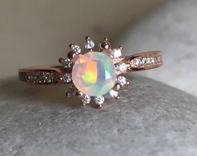 Opal Rose Gold Floral Ring- Opal Round Engagement Ring- Halo Opal Promise Ring- October Birthstone Ring- Genuine Welo Opal Anniversary Ring