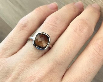 Simple Brown Ring- Classic Smoky Quartz Ring- Cushion Stackable Silver Ring- Minimalist Sterling Silver Ring