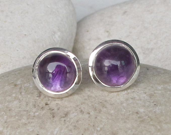 Purple Amethyst Stud Healing Earring- Round Cabochon Amethyst Genuine Earring- February Birthstone Earring- Simple Minimalist Purple Earring