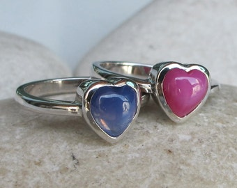 Stackable Heart Ring- Heart Shape Ring Set- Valentine Ring Set- Spring Colorful Ring- Blue Pink Ring Set- Star Sapphire Ring