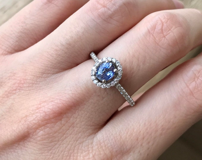 Blue Sapphire Engagement Ring- Genuine Oval Sapphire Promise Ring- Alternative Blue Gemstone Ring- Halo Sapphire Diamond Anniversary Ring