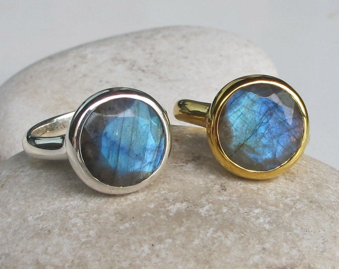 Labradorite Gold Statement Ring Simple Large Unisex Mens Ring Round Rose Gold Silver Faceted Size 9 All Sizes Size 10 Solitaire Ring Boho