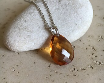 Faceted Pear Shape Citrine Necklace- November Birthstone Layering Necklace- Jewelry Gifts for Her- Yellow Topaz Gemstone Necklace- Necklace