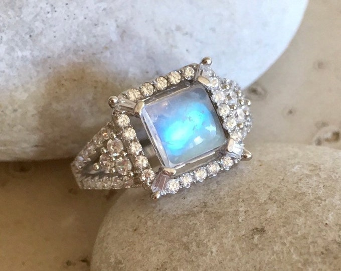 Moonstone Deco Engagement Halo Ring- Vintage Rainbow Moonstone Princess Promise Ring- Solitaire Anniversary Square Cab Moonstone Ring