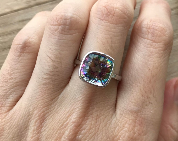 Square Rainbow Mystic Topaz Ring- Statement Boho Unique Colorful Ring- Neptune Garden Topaz Bohemian Ring- Jewelry Gifts for Her