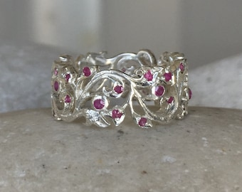 Ruby Floral Wedding Band- Woman Filigree Eternity Band- Sterling Silver Scroll Wide Band - Ruby Bridal Swirl Band- Edwardian Statement Band