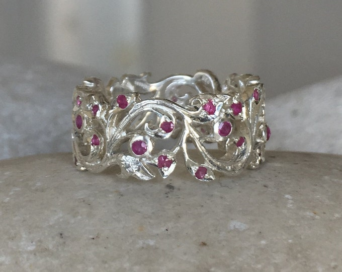 Ruby Floral Wedding Band- Woman Filigree Eternity Band- Sterling Silver Scroll Wide Band - Ruby Bridal Swirl Band- Edwardian Statement Band