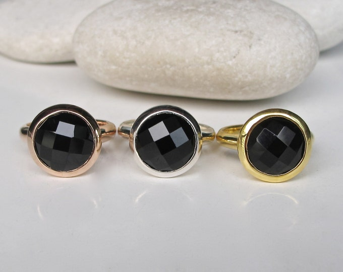 Black Onyx Engagement Ring- Round Black Statement Solitaire Ring- Black Faceted Bezel Ring- Rose Gold Black Ring- Simple Black Ring