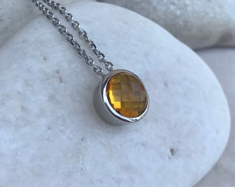 Light Citrine Round Sterling Silver Slider Necklace