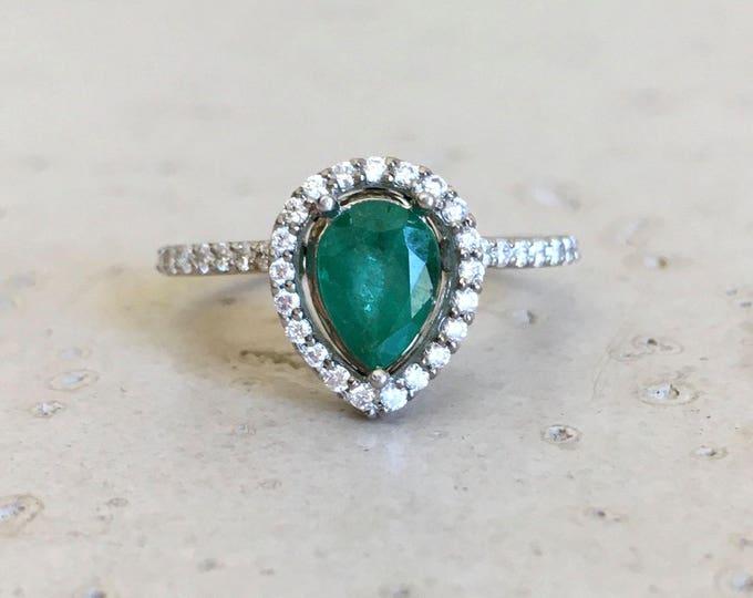 Emerald Engagement Ring 14k Tear Drop Green Gemstone Halo Emerald Ring Handmade Bridal Wedding Emerald Anniversary Green Alternative Ring