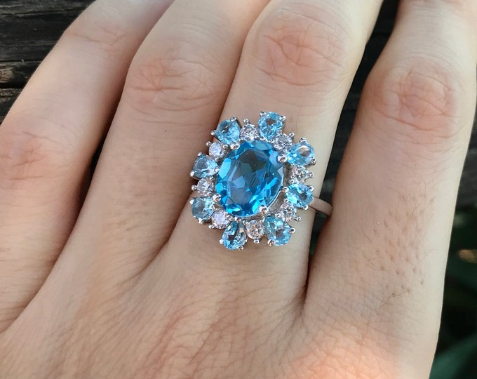 Swiss Blue Topaz Cluster Solitaire Halo Ring-Large Oval Blue Topaz Statement Ring-Unique Blue Multistone Anniversary Ring- December Ring