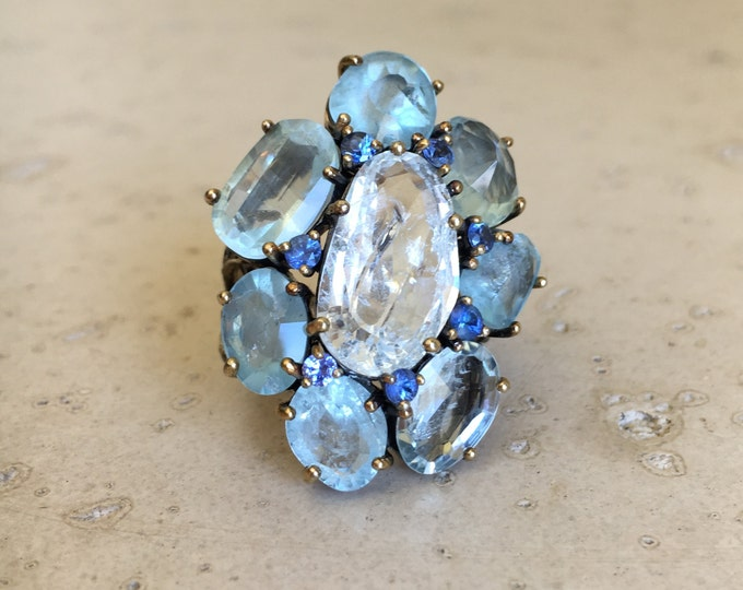 Unique Statement Ring- Designer Aquamarine Ring- Artisan Blue Gemstone Ring- OOAK Jewelry Art Ring
