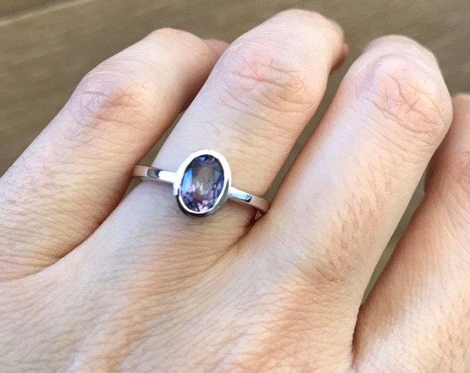 Small Mystic Topaz Oval Ring- Stackable Mystic Topaz Ring- Neptune Garden Topaz Ring- Sterling Silver Stone Ring- Jewelry Gifts for Her
