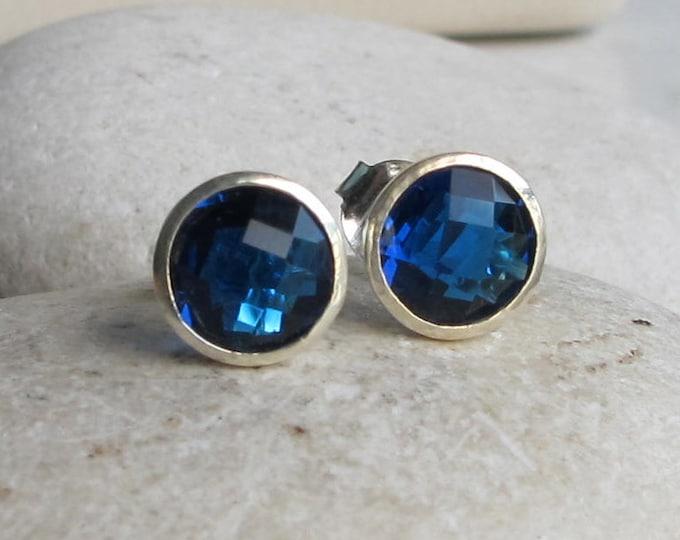 Dark Blue Topaz Stud- Round Blue Quartz Earring- London Blue Earring- Faceted Blue Earring- December Birthstone Earring